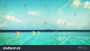 100 Maldives Infinity Pool Beauty Nature Concept Stock Photo