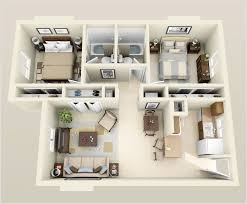 Sims 3 Floor Plans Small House by 10 Awesome Two Bedroom Apartment 3d Floor Plans Bedroom