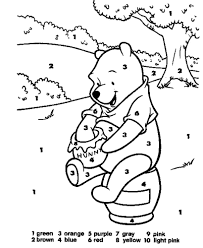 Color By Number Coloring Pages Inside Disney Printable