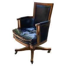 Vintage Black Leather And Oak 'Baker' Swivel Office Desk Chair
