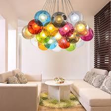 kreatives design moderne led bunte glaskugel pendelleuchten len