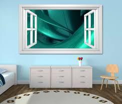 3d wandtattoo fenster 3d effekt spirale metall türkis abstrakt kunst textur muster weiß wand aufkleber wanddurchbruch sticker selbstklebend wandbild