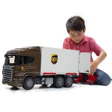 Scania UPS Truck With Forklift - Bruder Toys - Pumpkin And Bean
