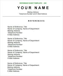 Character Resume Template Write References Sample Reference Sheet 8 Examples Format Ideas