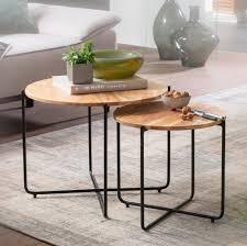 finebuy couchtisch 2er set akazie massivholz metall sofatisch design wohnzimmertisch rund kaffeetisch massiv kleiner tisch wohnzimmer