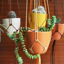 Rustic Wedding Decor Ceramic Pot Holder Macrame Plant Hanger Brown Cream Copper