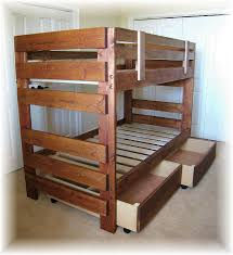 Funny Bunk Bed Plans For Children Rustic Wooden Style Storage Design Ideas