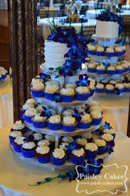 Royal Blue and Purple Cupcake Tower Wedding Cake with Orchids Made by Paisley Cakes