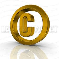 LettersMarket 3D gold Symbol Copyright isolated on a white