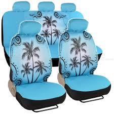 Universal Fit Automotive Gift Set Two Lowback Front Seat Covers And One  Rear Bench Seat Cover – Blue Palm Tree Beach