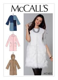 mccall u0027s 7481 misses u0027 hooded collared or collarless coats and vest