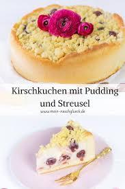 kirschkuchen mit pudding und streusel