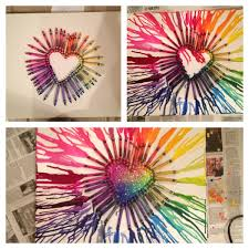 Crayon Canvas Not Only Is The Melted Idea Awesome But Putting Glitter In Heart ArtHeart