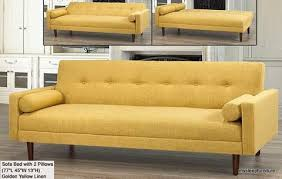 8064 golden yellow color fabric klik klak sofa bed with arms