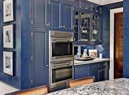Kitchen Illuminated Navy Blue Cabinet With Modern Appliances By Karen Soojian