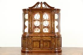traditional breakfront china display cabinet curved beveled glass
