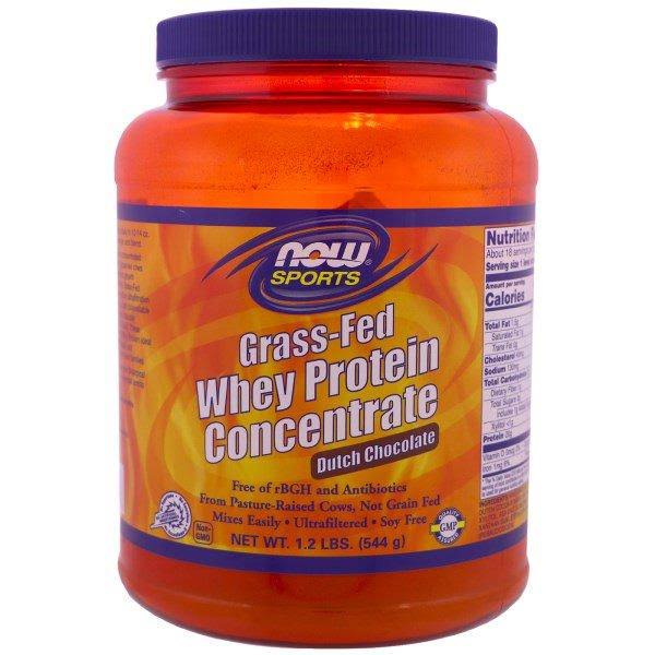 Grass-Fed Whey Protein Concentrate Powder Chocolate, 1.2 lb, Now Foods