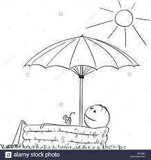 Cartoon Of Man Enjoying In Inflatable Pool Under Umbrella With Drink Hand