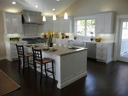 White Kitchen Designs With Dark Floor Square Island In Finish Beige Granite Seamless Counntertops Sleek Gray Tiled Backsplash Black Metal Double Door