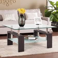 100 Living Room Table Modern Mecor Rectangle Glass Coffee Walnut Side Coffee With Lower Shelf Wooden LegsSuit For