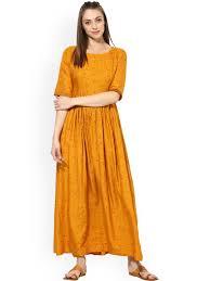 buy aks women mustard yellow printed maxi dress dresses for
