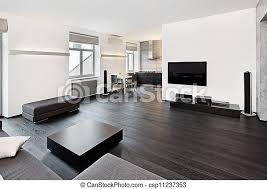 moderner minimalismus sitzraum in schwarz weißen tönen