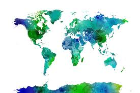 Watercolor World Map Blue Green
