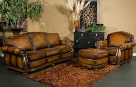 Decoration In Rustic Leather Sofa With Lovable Western Furniture Decor