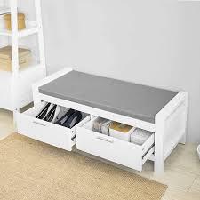 sobuy fsr74 w sitzbank mit stauraum mit 2 schubladen bettbank mit sitzfläche garderobenbank