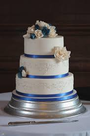 Ideas Traditional Blue Wedding Cake Elegant Royal Silver Rose