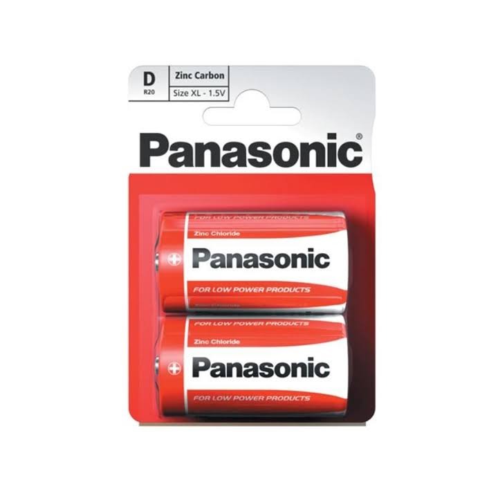 Panasonic D Zinc Carbon Batteries - 1.5V, 2pcs