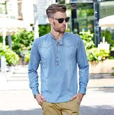 Loose Style Long Sleeve Denim Shirts Men Washed Vintage Mens Casual Jean Summer Lightweight