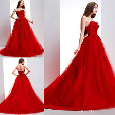 2015 prom dresses strapless lace appliques chapel train tulle red