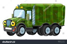 Cartoon Happy Funny Military Truck Isolated Stock Illustration ...