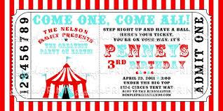 Elegant Carnival Ticket Invitation Template Free Circus Tent Printable
