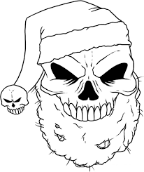Skull Coloring Pages Santa Hat