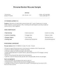Banker Resume Template And Of A Personal Sample Resumes Private