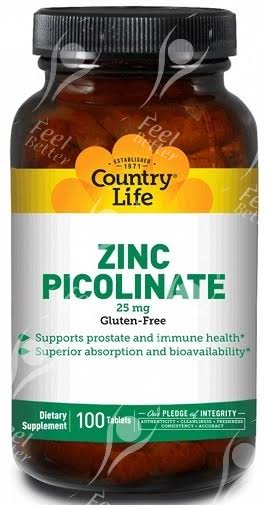 Country Life Vitamins Zinc Picolinate Supplement - 100 Tablets