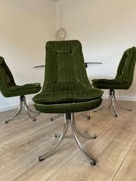 sitzgruppe 4 samtcord stühle plus glastisch antik 70er jahre