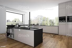 3d rendering holz boden küche und esszimmer minimal stockfoto und mehr bilder accessoires