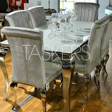 Louis Super White Dining Table And 6 Silver Nicole Chairs Simple Living Vintner Country Style Ding Chairs Set Of 2 Corinne Linen Chair With Black Espresso Wood Caracole Classic Collar Up Gorees Fniture Opelika Al Chateau De Ville Cherry Roco Ding Chair Contemporary Beautifully Made In Italy Calia Bronze Draped Chair High End Luxury Design Rustic Sonoma Cross Back Stackable W Cushion Tinted Raw Ten Side 100 Michelle 2pack Cooper Roche Light Grey Velvet