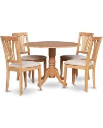 East West Furniture Dublin 5 Piece Drop Leaf Dining Table Set With Avon Microfiber Seat Chairs