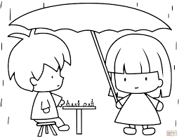 Children Playing Chess While Raining View All Coloring Pages