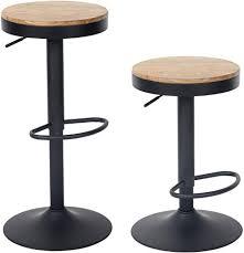 younike 2er set barhocker holz barstuhl 58 80cm höheverstellbar 360 schwenkbar tresenhocker mit fußstütze für bar bistor café küche schwarz