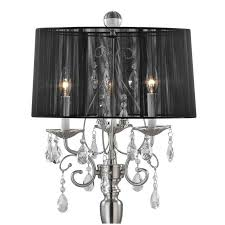 Lovely Crystal Chandelier With Black Drum Shade 8 Dining Room