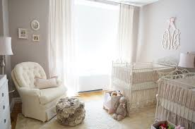 Pink Ivory And Gray Twin Girls Nursery