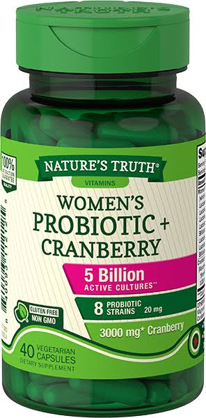 Nature's Truth Women's Probiotic + Cranberry Dietary Supplement Vegetarian Capsules - 40 ct
