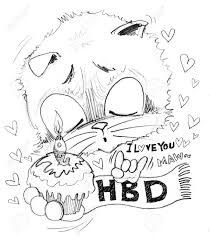 Happy Birthday and cake with small word is I love you he surprise with girl friend