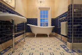 navy blue wall design with comfortable white acryclic clawfoot tub