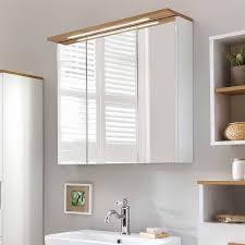 bad spiegelschrank in weiß glanz eiche utiona
